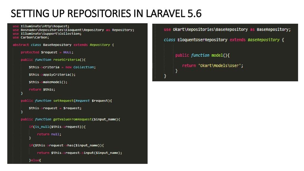 SETTING UP REPOSITORIES IN LARAVEL 5.6