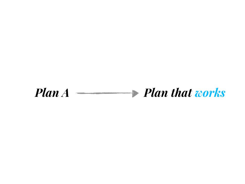 Plan A Plan that works