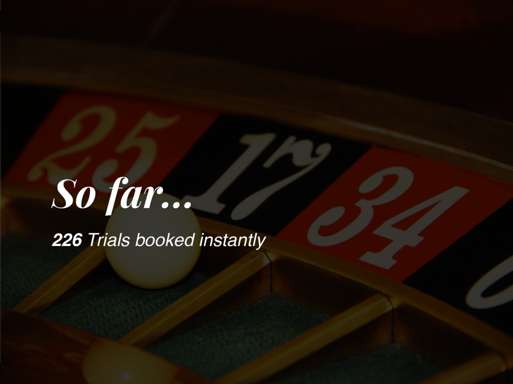 So far… 226 Trials booked instantly