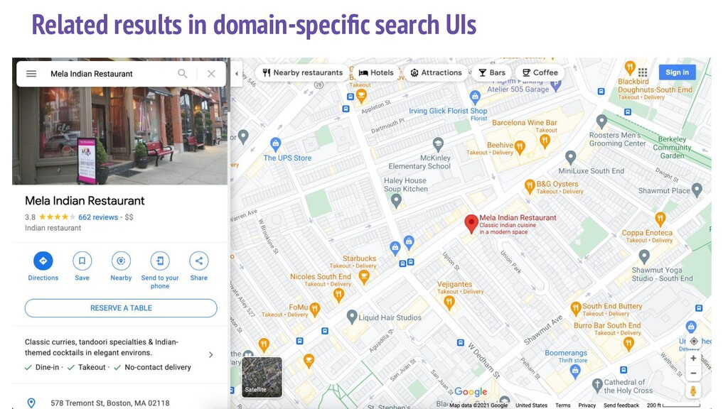 Related results in domain-specific search UIs