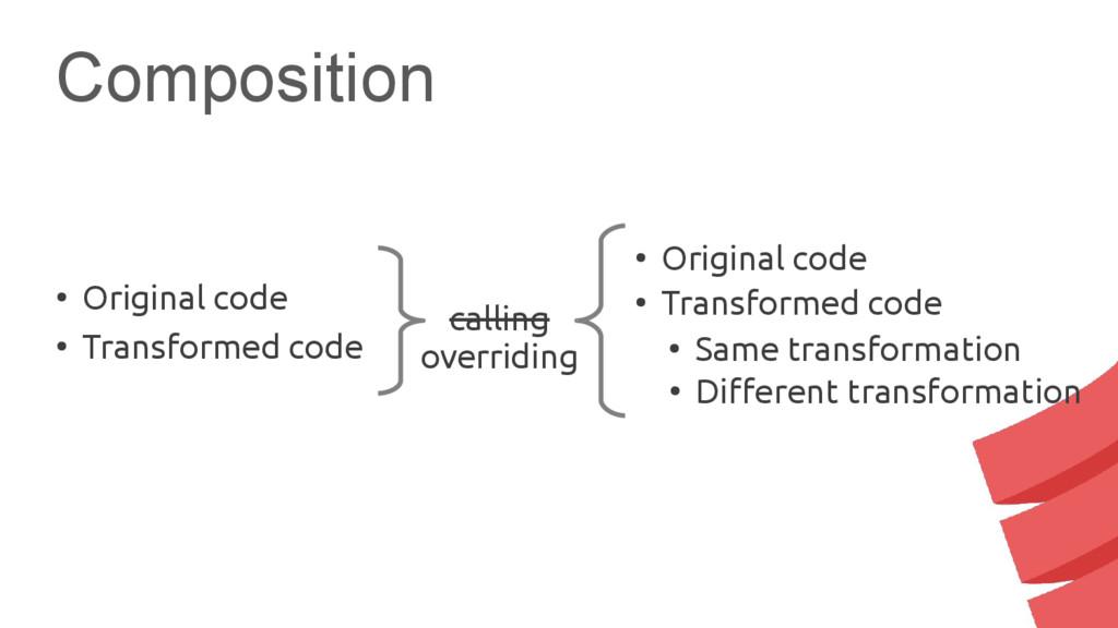 Composition calling overriding ● Original code ...