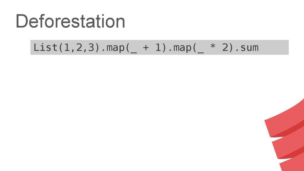 Deforestation List(1,2,3).map(_ + 1).map(_ * 2)...