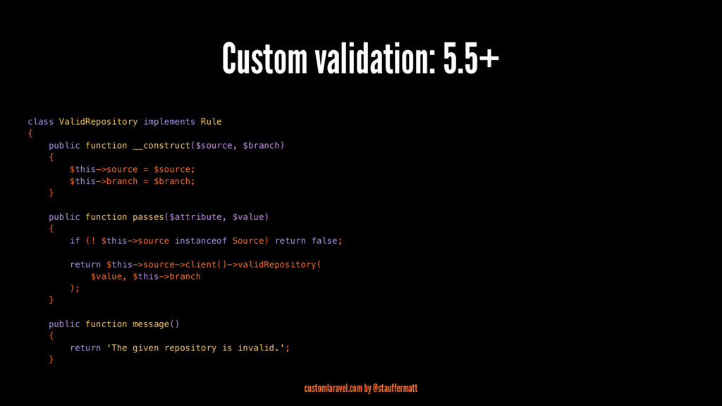 Custom validation: 5.5+ class ValidRepository i...