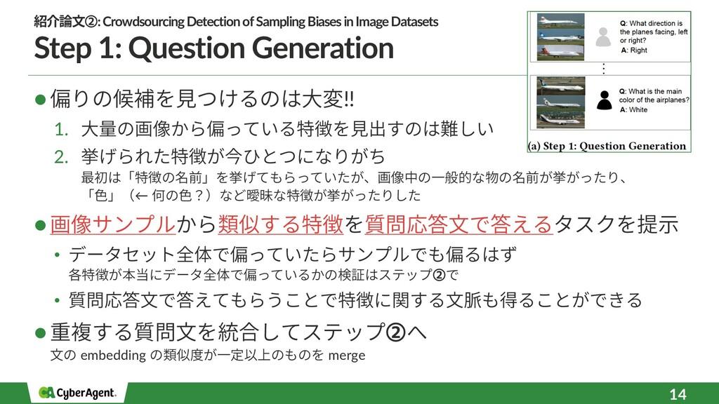 Step 1: Question Generation l 偏りの候補を⾒つけるのは⼤変!! ...