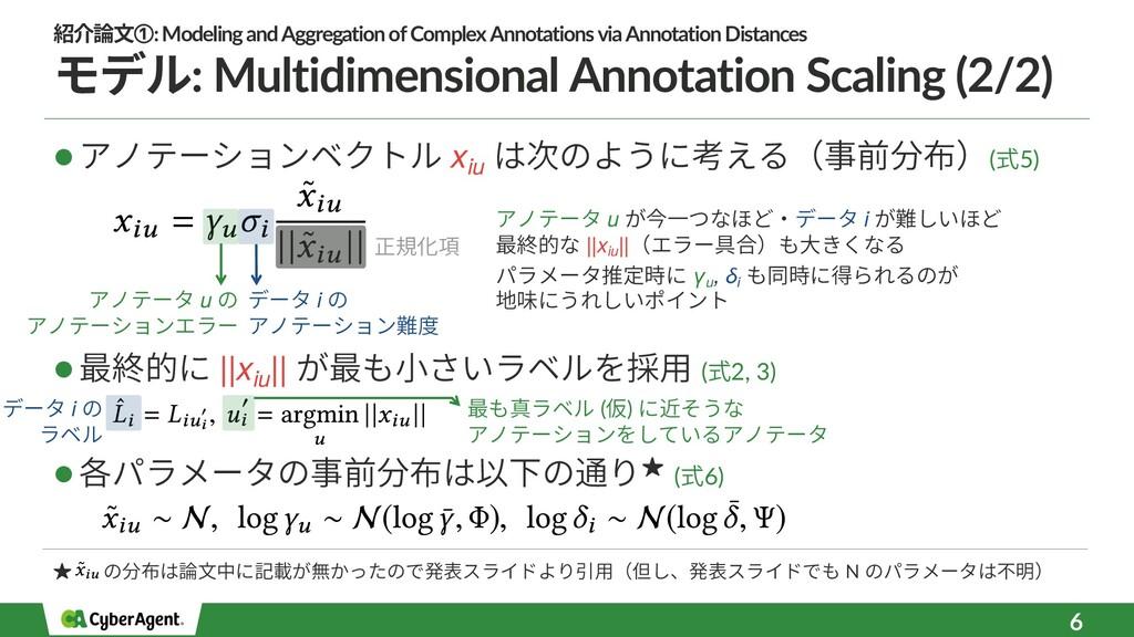 6 l アノテーションベクトル xiu は次のように考える(事前分布)(式5) l 最終的に ...