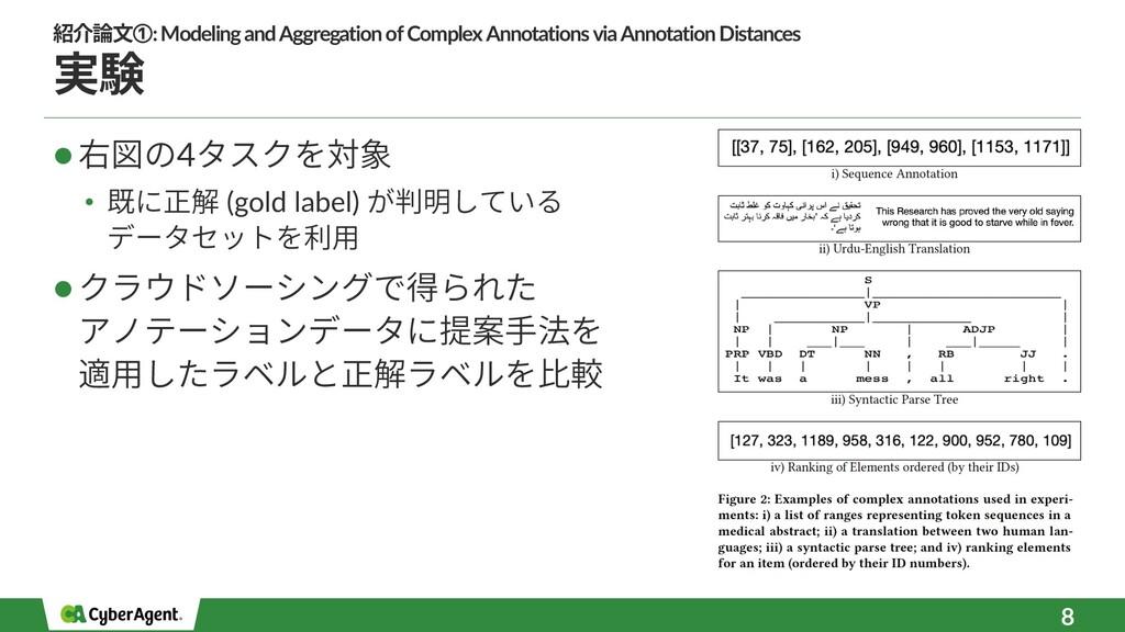 実験 l 右図の4タスクを対象 • 既に正解 (gold label) が判明している データ...
