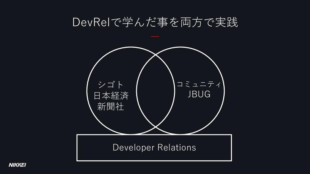 DevRelで学んだ事を両方で実践 シゴト 日本経済 新聞社 コミュニティ JBUG Deve...