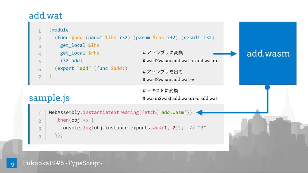 FukuokaJS #8 -TypeScript- 9 add.wat sample.js a...