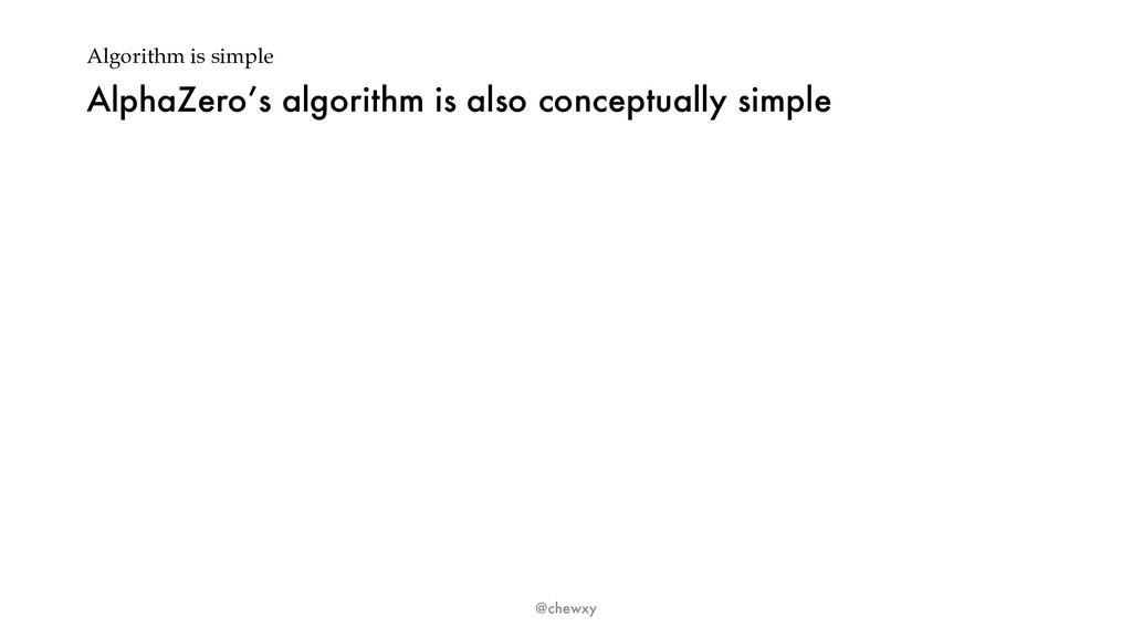 Algorithm is simple AlphaZero's algorithm is al...