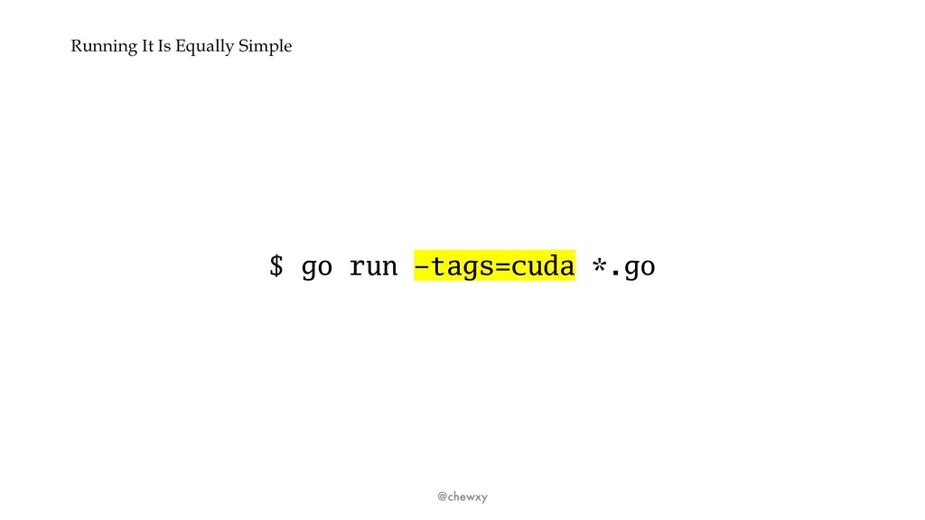 Running It Is Equally Simple $ go run –tags=cud...