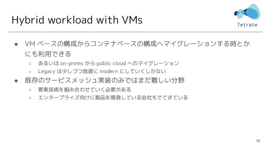 Hybrid workload with VMs ● VM ベースの構成からコンテナベースの構...