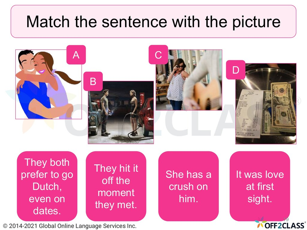 Match the sentence with the picture A B D C The...