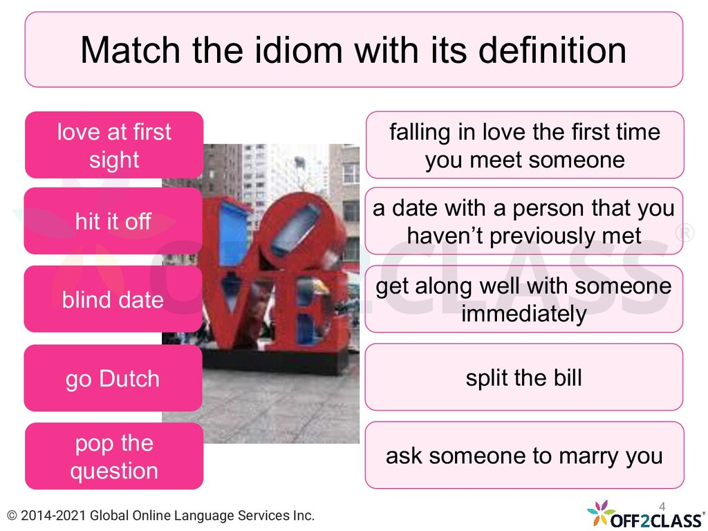 Match the idiom with its definition hit it off ...