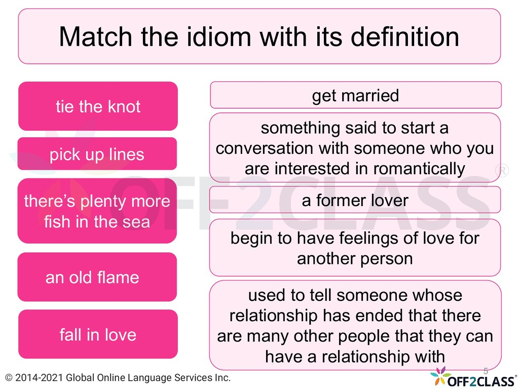 Match the idiom with its definition pick up lin...