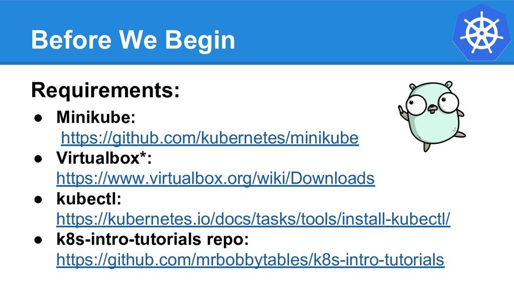 Before We Begin Requirements: ● Minikube: https...