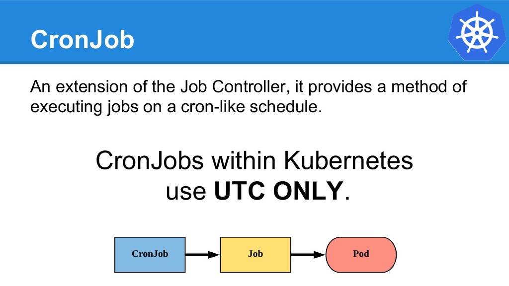CronJob An extension of the Job Controller, it ...