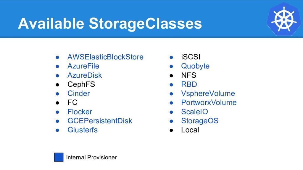 Available StorageClasses ● AWSElasticBlockStore...