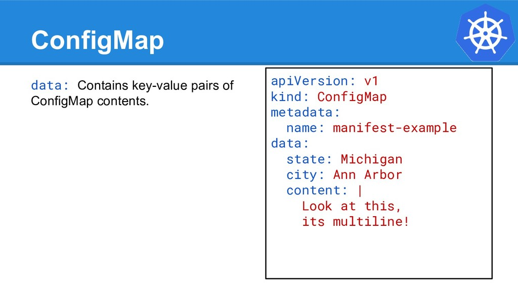 ConfigMap data: Contains key-value pairs of Con...