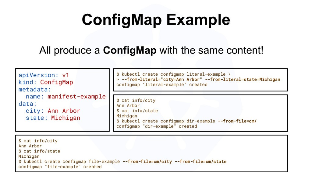 ConfigMap Example apiVersion: v1 kind: ConfigMa...