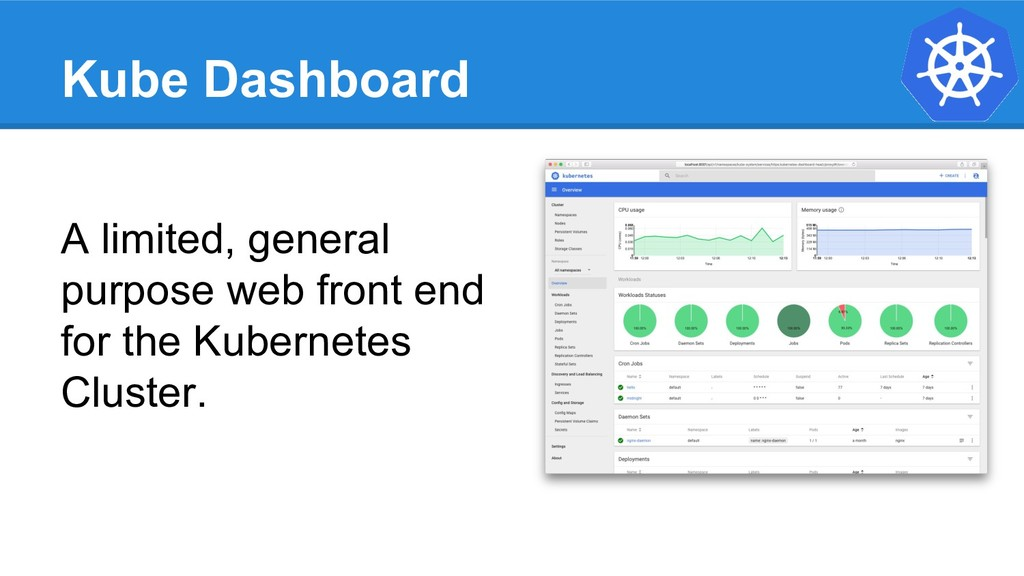 Kube Dashboard A limited, general purpose web f...