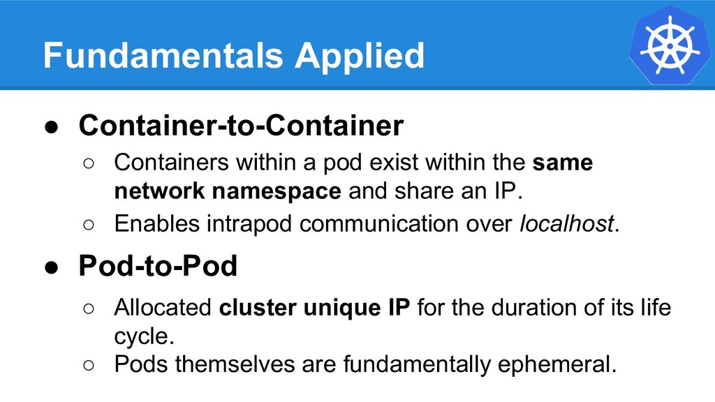 Fundamentals Applied ● Container-to-Container ○...