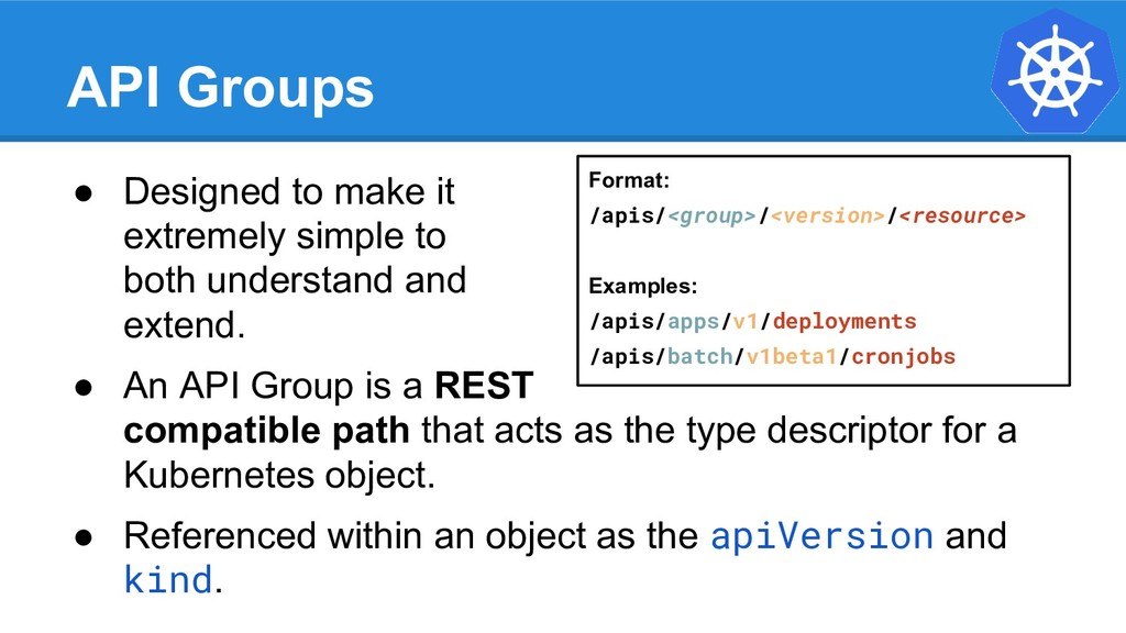 API Groups ● Designed to make it extremely simp...