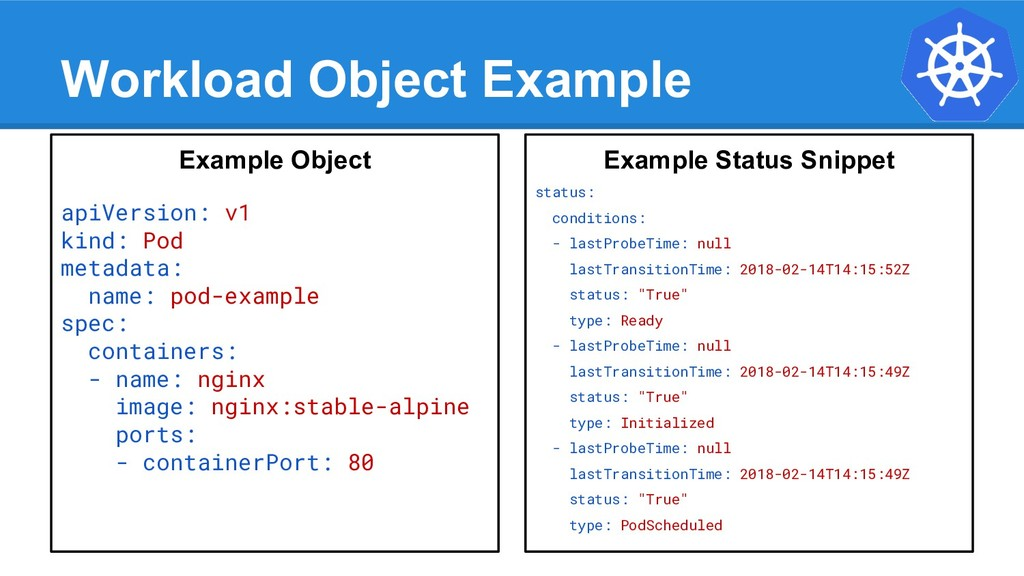 Workload Object Example Example Object apiVersi...