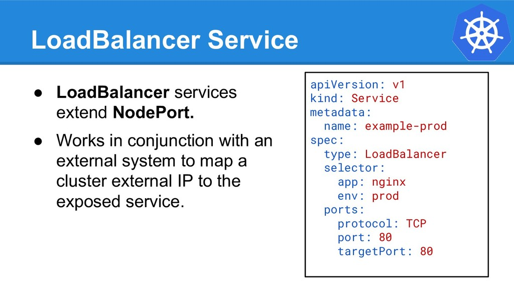 LoadBalancer Service apiVersion: v1 kind: Servi...