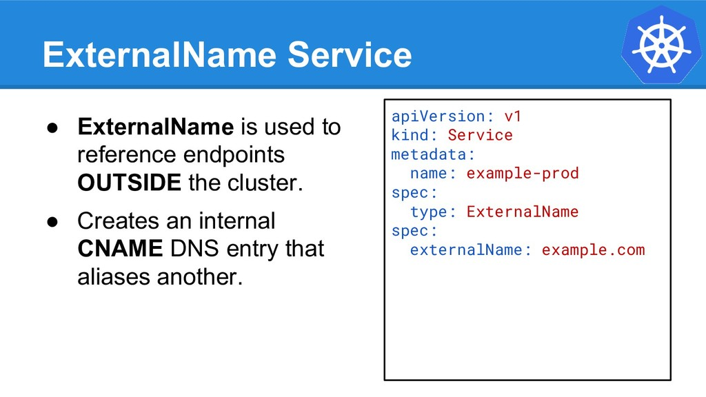 ExternalName Service apiVersion: v1 kind: Servi...