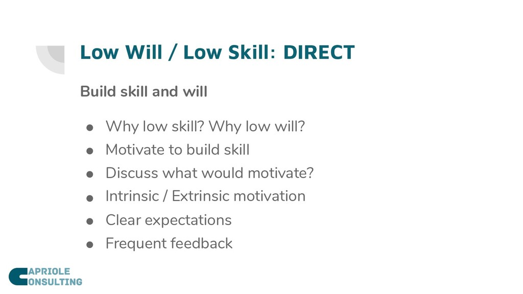 Low Will / Low Skill: DIRECT Build skill and wi...