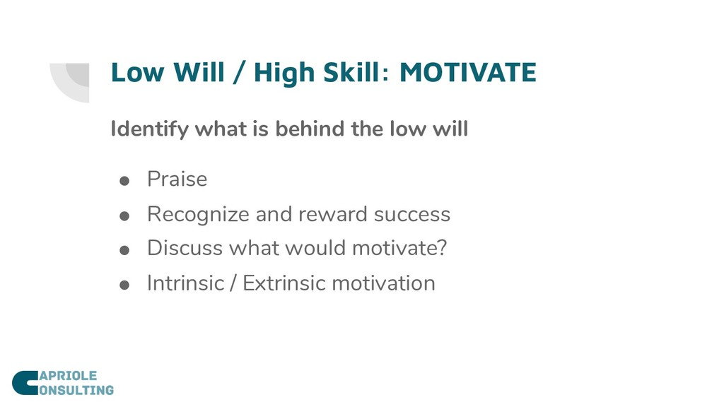 Low Will / High Skill: MOTIVATE Identify what i...