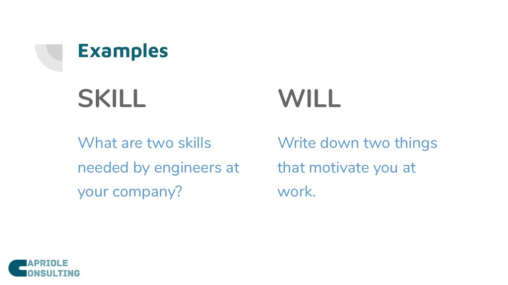 Examples SKILL What are two skills needed by en...