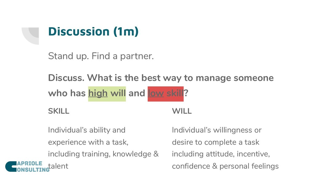 Discussion (1m) Stand up. Find a partner. Discu...
