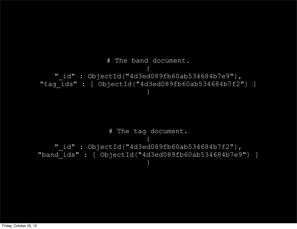 "# The band document. { ""_id"" : ObjectId(""4d3ed0..."