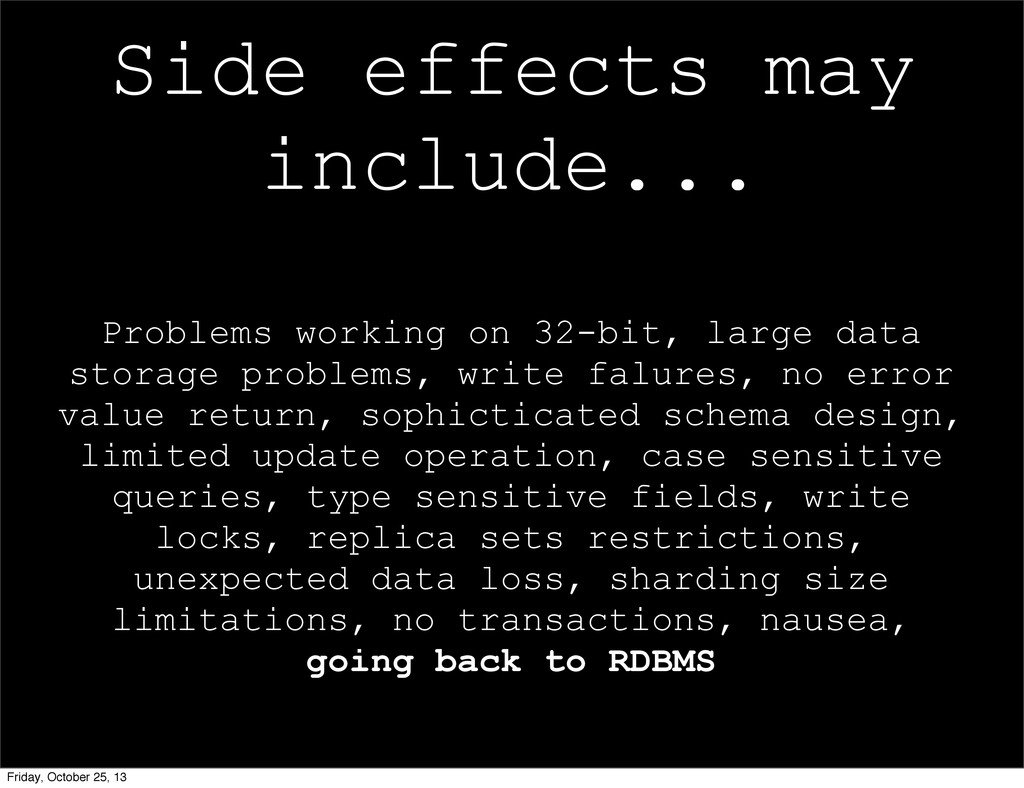 Side effects may include... Problems working on...