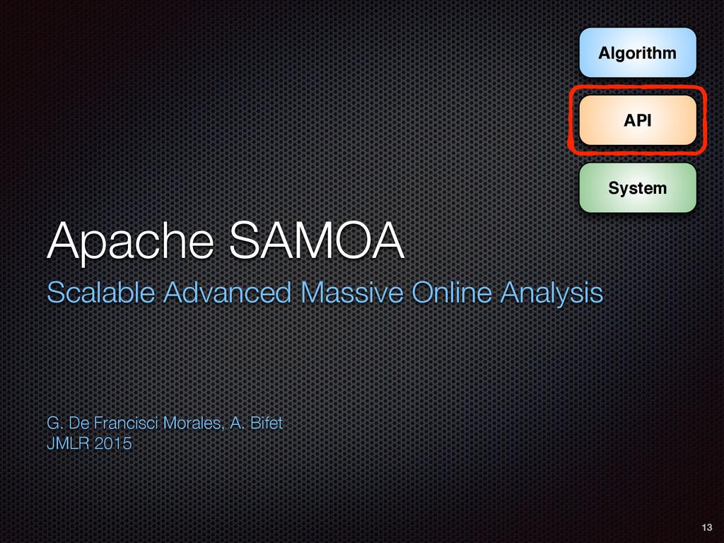 System Algorithm API Apache SAMOA Scalable Adva...