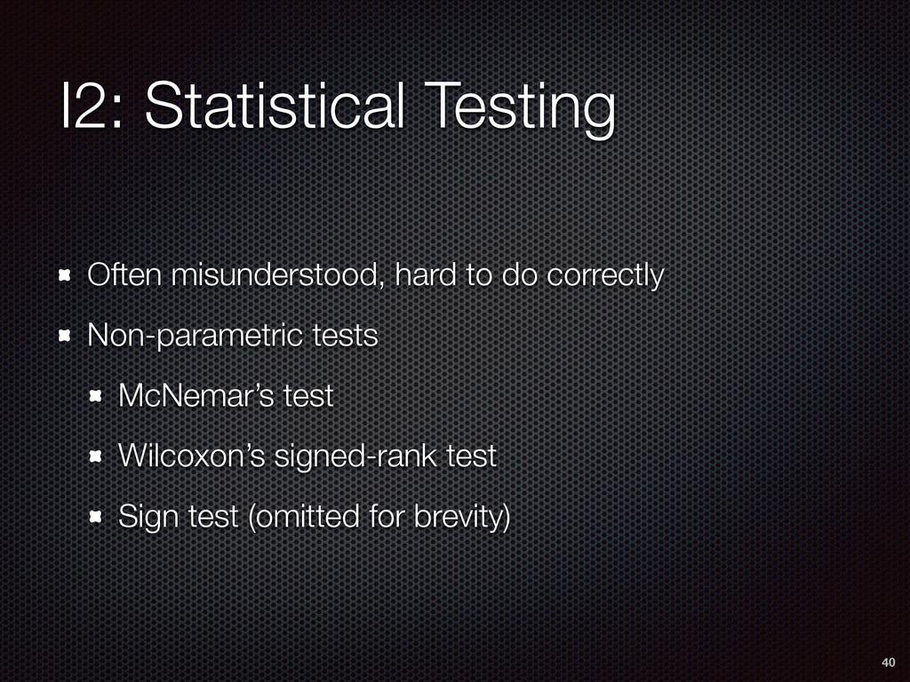 I2: Statistical Testing Often misunderstood, ha...