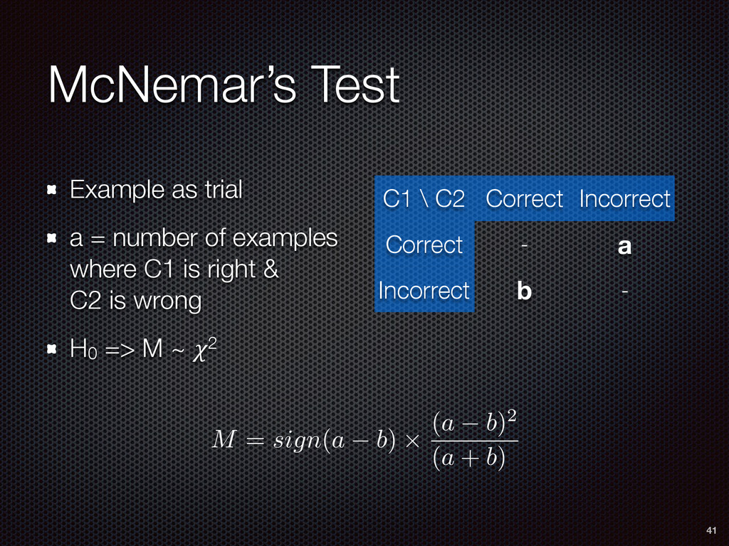 McNemar's Test Example as trial a = number of e...