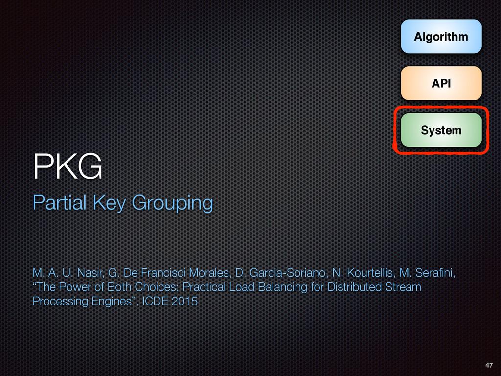 PKG Partial Key Grouping M. A. U. Nasir, G. De...