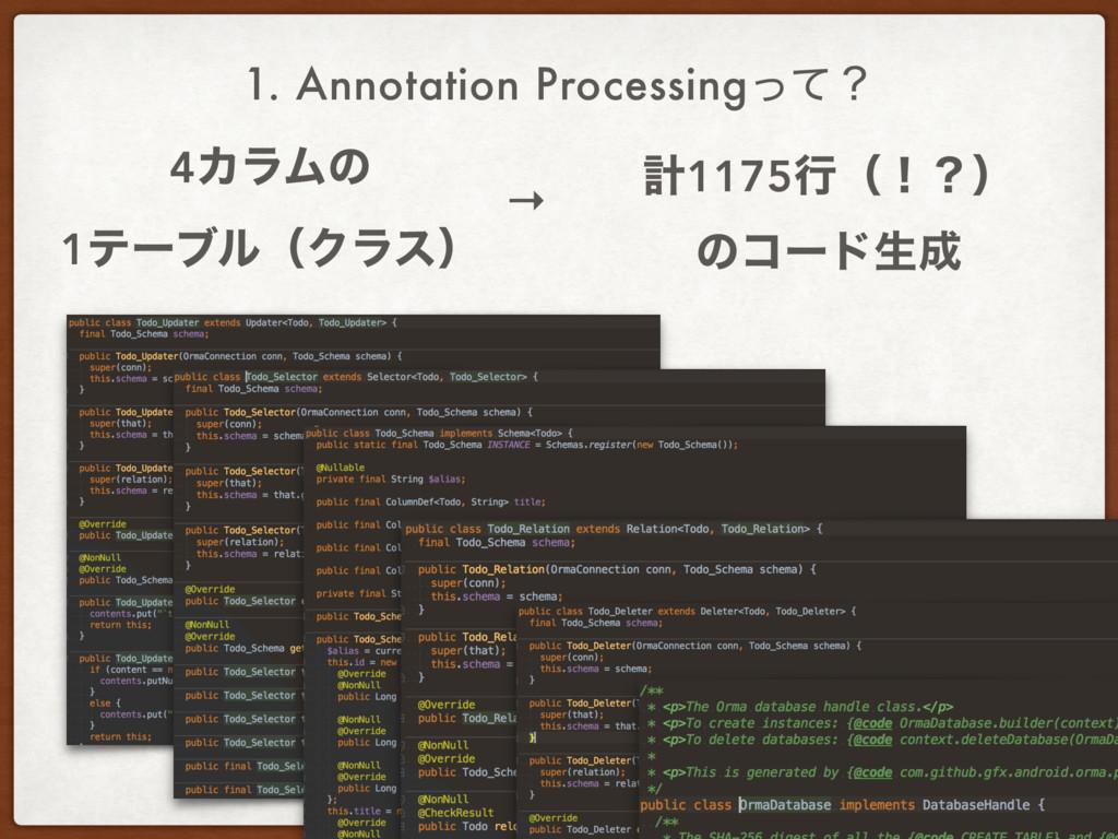 1. Annotation Processingͬͯʁ 4ΧϥϜͷ 1ςʔϒϧʢΫϥεʣ →...