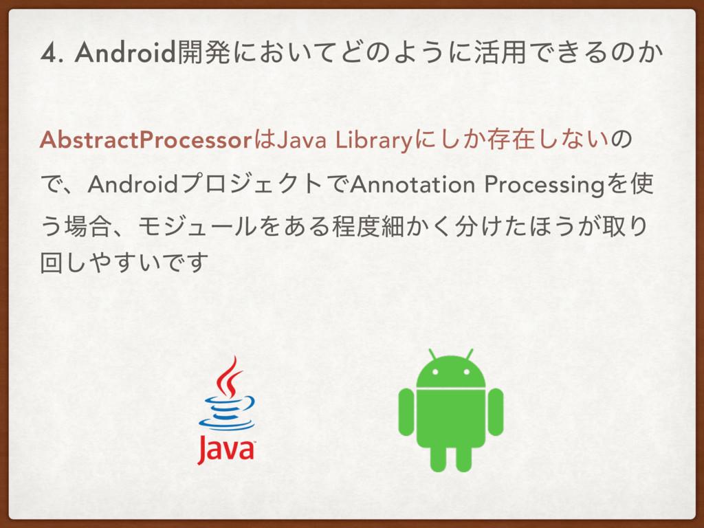 4. Android։ൃʹ͓͍ͯͲͷΑ͏ʹ׆༻Ͱ͖Δͷ͔ AbstractProcessor...