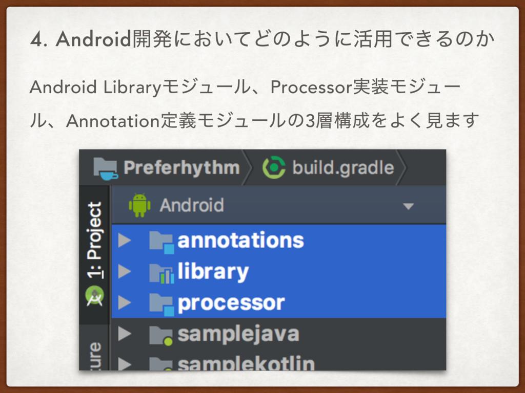 4. Android։ൃʹ͓͍ͯͲͷΑ͏ʹ׆༻Ͱ͖Δͷ͔ Android LibraryϞδϡ...