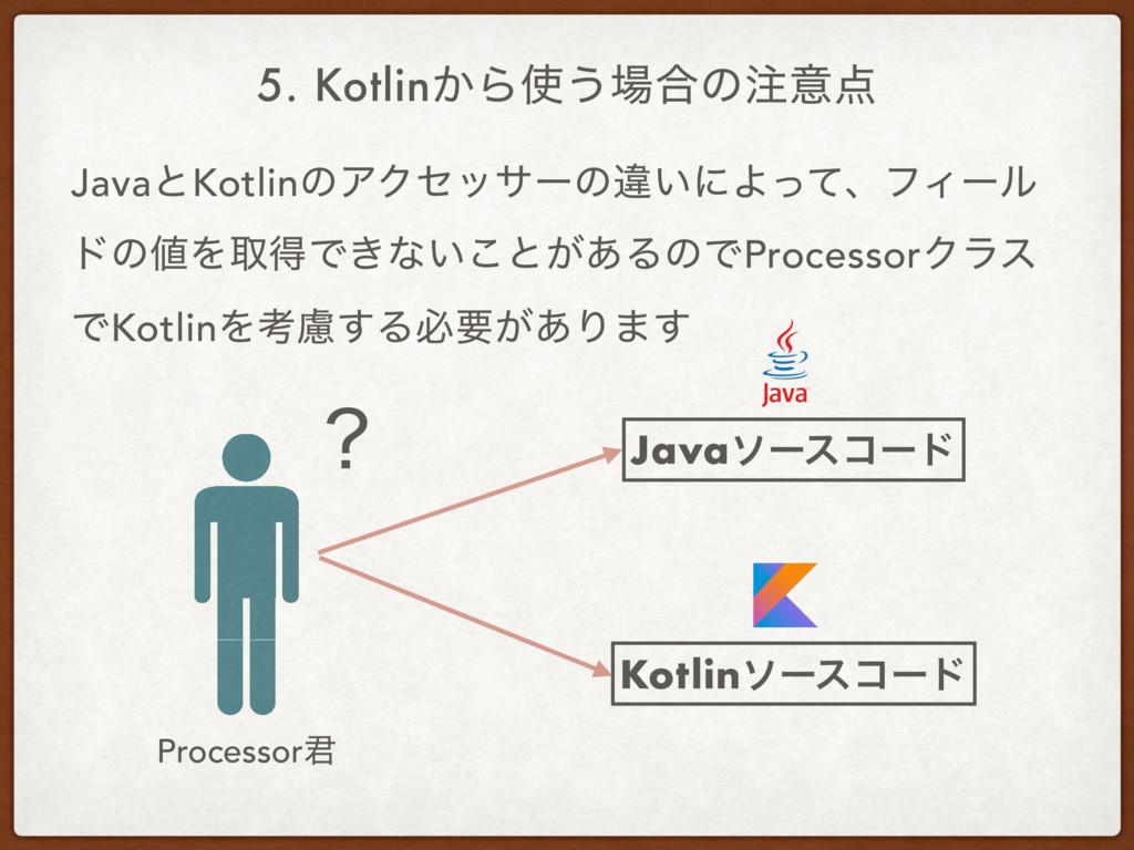 5. Kotlin͔Β͏߹ͷҙ Processor܅ Javaιʔείʔυ Kotli...
