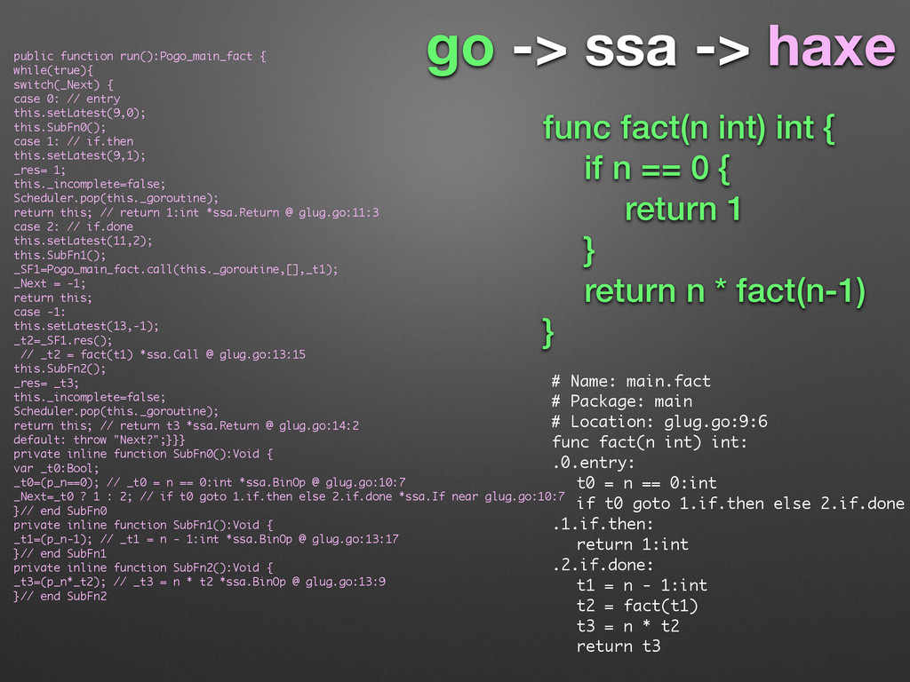 go -> ssa -> haxe # Name: main.fact # Package: ...