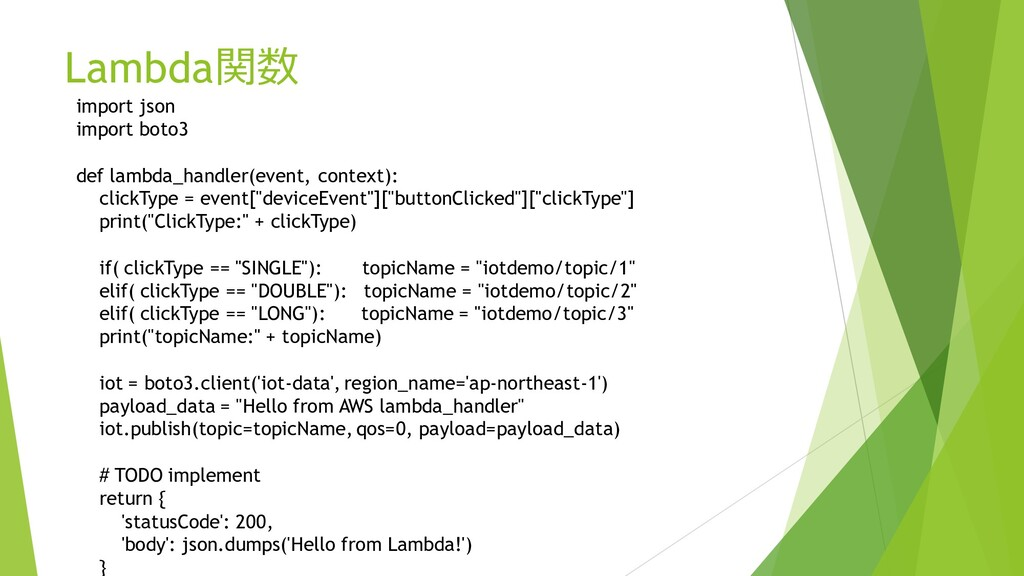 Lambda関数 import json import boto3 def lambda_ha...