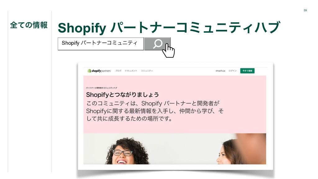 59 Shopify ύʔτφʔίϛϡχςΟϋϒ શͯͷใ Shopify ύʔτφʔίϛϡ...