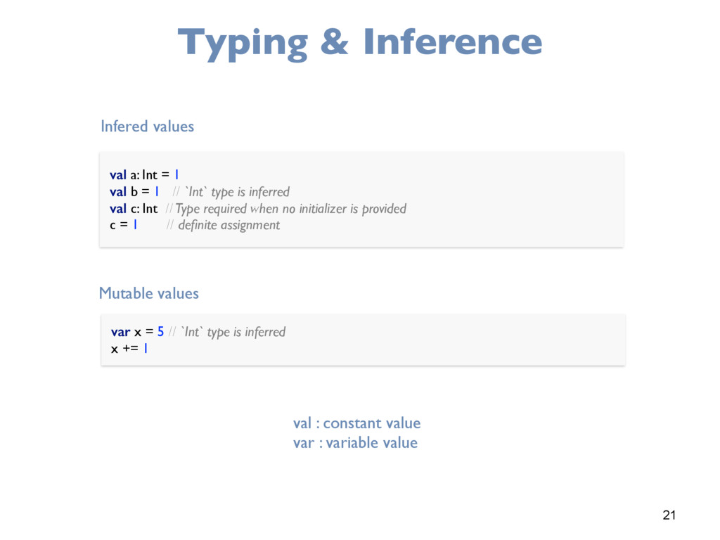 21 Typing & Inference val a: Int = 1 val b = 1...