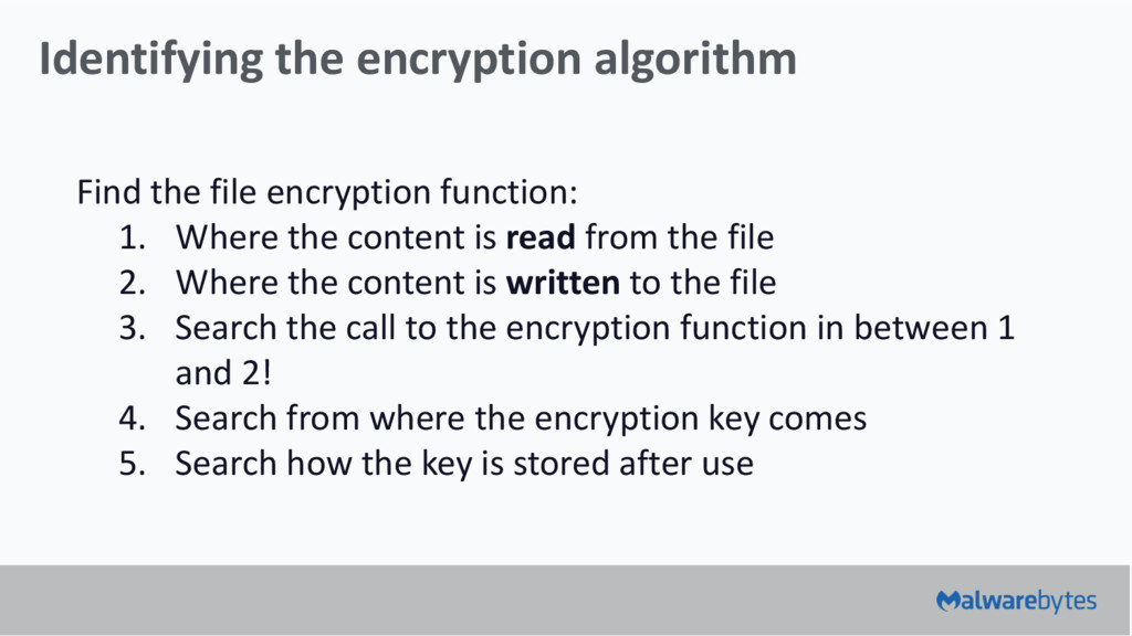 Identifying the encryption algorithm Find the f...