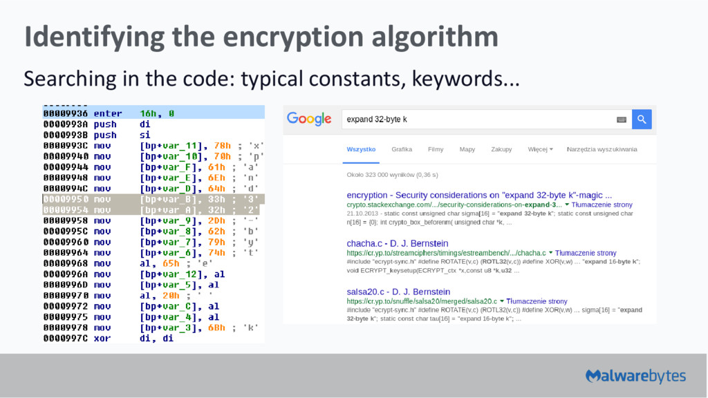 Identifying the encryption algorithm Searching ...
