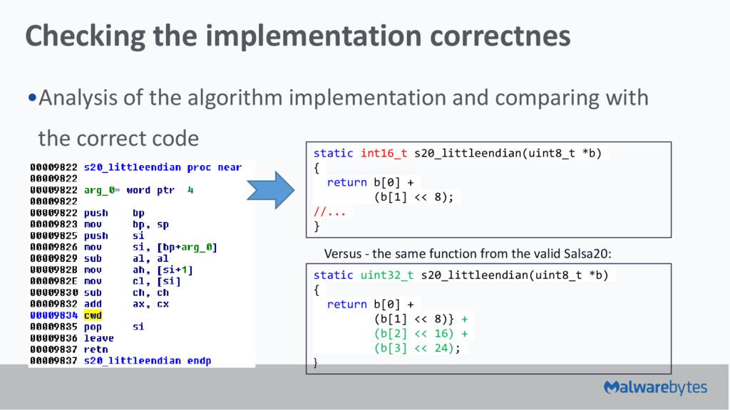 Checking the implementation correctnes •Analysi...